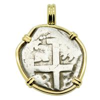 Colonial Spanish Peru, King Philip V two reales dated 1740, in 14k gold pendant.