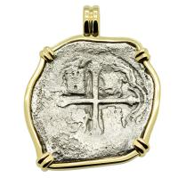 Spanish 8 reales dated 1640, in 14k gold pendant, 1641 Shipwreck Silver Shoals Dominican Republic.