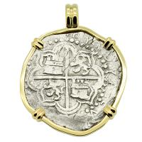 Spanish 8 reales 1598-1621, in 14k gold pendant, 1622 Portuguese Shipwreck, Mozambique, Africa.