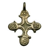 Byzantine Empire 6th - 8th century, rosettes bronze cross pendant.