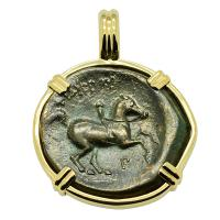 Greek 359-336 BC, King Philip II Horseman and Apollo bronze coin in 14k gold pendant.