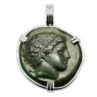 Greek 359-336 BC, King Philip II Apollo and Horseman bronze coin in 14k white gold pendant.