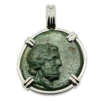 Greek 160-110 BC, God of Medicine Asclepius bronze coin in 14k white gold pendant.