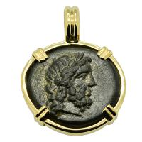 Greek 160-110 BC, God of Medicine Asclepius bronze coin in 14k gold pendant.