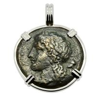 Greek Syracuse 344-317 BC, Apollo and Pegasus bronze coin in 14k white gold pendant.