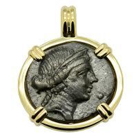 Greek 167-133 BC, Goddess of Love Aphrodite bronze coin in 14k gold pendant.