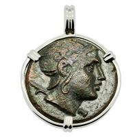 Greek 179-168 BC, Hero Perseus and Eagle bronze coin in 14k white gold pendant.