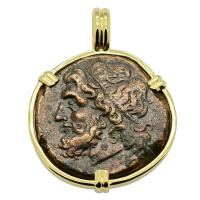 Greek 261-240 BC, Poseidon and Trident Tetras in 14k gold pendant.