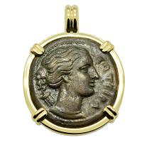 Greek Syracuse 317-289 BC, Artemis and winged lightning bolt bronze coin in 14k gold pendant.