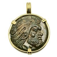 Greek 325 - 310 BC, Pan and Griffin bronze coin in 14k gold pendant.