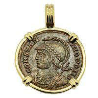 Roman Empire AD 330-333, Constantinopolis and Victory nummus in 14k gold pendant.