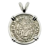 Hungarian dated 1534, Madonna and Child denar coin in 14k white gold pendant.