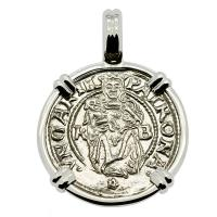 Hungarian dated 1536, Madonna and Child denar coin in 14k white gold pendant.