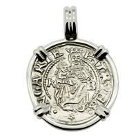 Hungarian dated 1537, Madonna and Child denar coin in 14k white gold pendant.