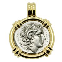 Greek 305-287 BC, Alexander the Great and Athena drachm in 14k gold pendant.