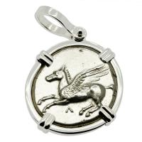 Greek 350-320 BC, Pegasus and Athena stater in 14k white gold pendant.