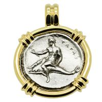 Greek - Italy 332-302 BC, Taras riding Dolphin and Horseman nomos in 14k gold pendant.