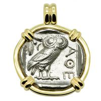 Greek 454-404 BC, Owl and Athena tetradrachm in 14k gold pendant.