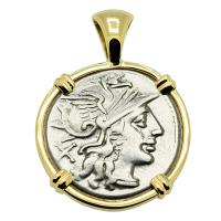 Roman Republic 150 BC, Roma and Diana chariot denarius in 14k gold pendant.