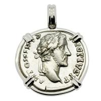 Roman Empire AD 153-154, Antoninus Pius denarius in 14k white gold pendant.
