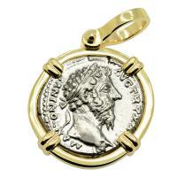 Roman Empire AD 168-169, Marcus Aurelius and Liberalitas denarius in 14k gold pendant.