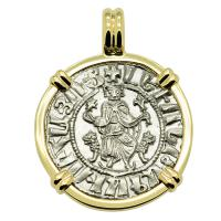 Armenia 1198-1219, King Levon the Magnificent tram in 14k gold pendant.