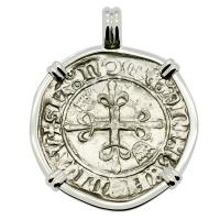 French 1417-1422, King Charles VI Gros dit Florette in 14k white gold pendant.