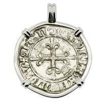 French 1417-1422, King Charles VI Gros dit Florette in 14k white gold pendant.