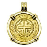 Portuguese Brazil 2000 Reis dated 1771 in 14k gold pendant.