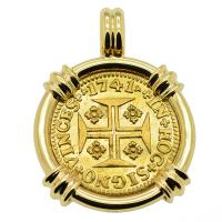 Portuguese 1000 Reis dated 1741, with cross and crown in 14k gold pendant.