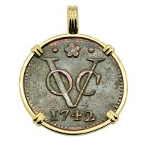 Dutch East Indies Company VOC duit dated 1742 in 14k gold pendant.