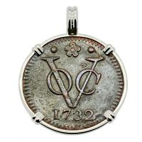 Dutch East Indies Company VOC duit dated 1732 in 14k white gold pendant.