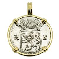 Dutch 2 stuivers dated 1729 in 14k gold pendant.