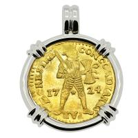 Dutch Ducat dated 1724 in 14k white gold pendant, 1725 East Indiaman Shipwreck Norway.