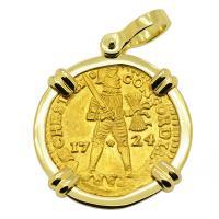Dutch Ducat dated 1724 in 18k gold pendant, 1725 East Indiaman Shipwreck Norway.