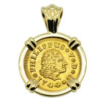 Spanish 1/2 Escudo dated 1744, in 14k gold pendant.