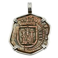 Spanish 8 maravedis dated 1618, in 14k white gold pendant.