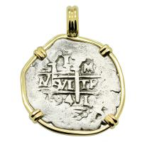 Colonial Spanish Peru, King Charles II one real dated 1694, in 14k gold pendant.