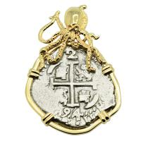 Colonial Spanish Peru, King Charles II two reales dated 1694, in 14k gold octopus pendant.