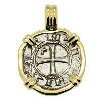 Antioch 1163-1188, Crusader Cross denier in 14k gold pendant.