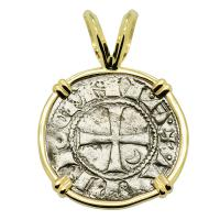 Antioch 1163-1188, Crusader Cross denier in 14k gold pendant.