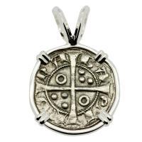 Barcelona, Spain 1291-1327, King James II dinero in 14k white gold pendant.