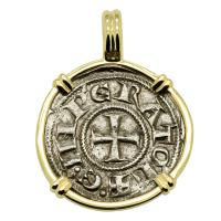 Italian 1194-1197, King Henry VI Crusader Cross denaro in 14k gold pendant.