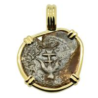 Holy Land 103-76 BC, Biblical Widow's Mite in 14k gold pendant.
