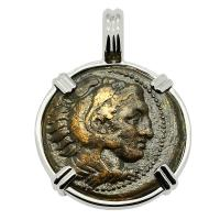 Greek 336-323 BC, Alexander the Great bronze coin in 14k white gold Pendant.