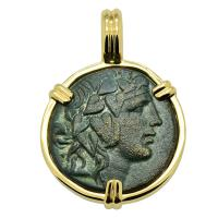 Greek 105-90 BC, God of Wine Dionysus and thyrsus bronze coin in 14k gold pendant.