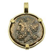 Greek 261-240 BC, Poseidon and Trident Tetras in 14k gold pendant.