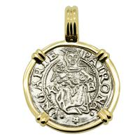 Hungarian dated 1536, Madonna and Child denar coin in 14k gold pendant.