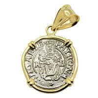 Hungarian dated 1537, Madonna and Child denar coin in 14k gold pendant.