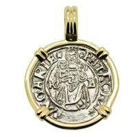 Hungarian dated 1541, Madonna and Child denar coin in 14k gold pendant.
